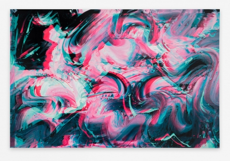 An abstract image of pink, aqua, black, and green squiggles.