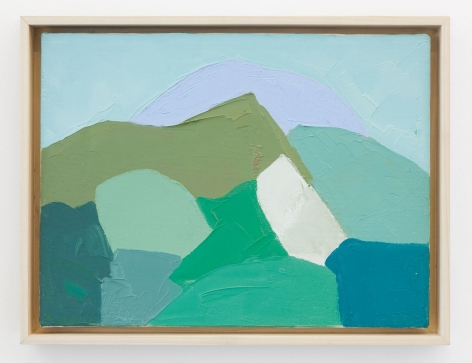 An abstract painting in tones of blue, green, white