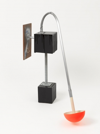 A mixed-media sculpture: small wood base painted black with an aluminum pole that connects to another black wood block above it. From this 2nd block, there is an arm with a semi-circular orange piece of plastic at the end, touching the floor, and the other arm shows a wood slab with some paint upon it.