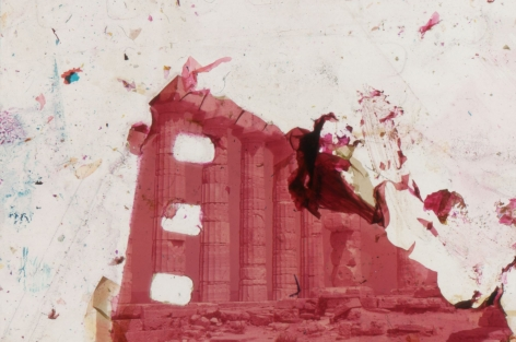 A non-descript building facade, with most of the photographic information erased. Red-tinted.
