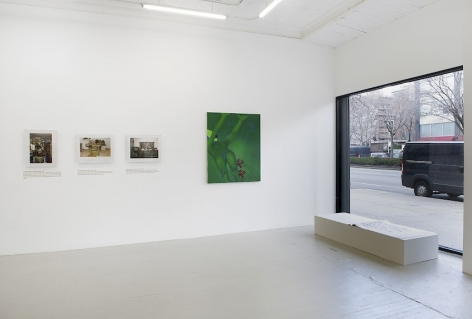 An installation view of 3 photographs by Jiri Skala of factory machines, one green painting by Ranee Henderson of a figure lying down reaching upwards, and one book by Shawné Michaelain Holloway installed on the ground in front of a large window