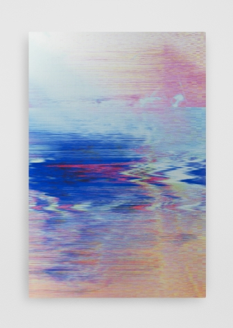 A glitch work on aluminum that is mostly blue and red