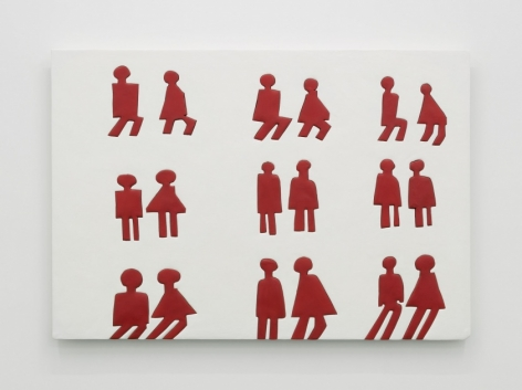 An artwork with a white ground. there are 9 sets of traditional bathroom figures (male at left, female at right) in 3 columns / 3 rows.