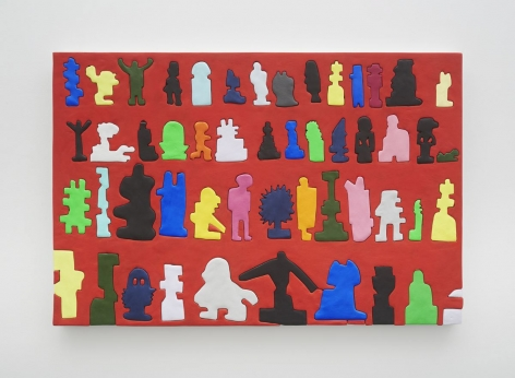 A photograph of a painting that has a red background and includes 4 rows of 10-14 figures—some are recognizable as idols like Buddha, King Kong, or an orthodox cross but others are more abstract.