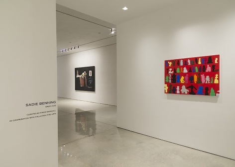 A photograph of the installation at Mary Boone Gallery, with 'Icons' in the foreground at right and another work further in the background.
