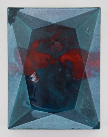 A painting of a diamond face, which is mostly light blue and white. There is a red horizontal blemish that touches both sides of the painting.