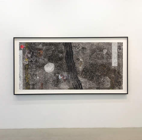 An installation shot of Kahlil Robert Irving's collograph print, framed in black