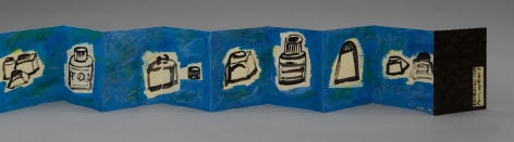 a partially unfolded leporello with blue background and black outlines of varied domestic objects