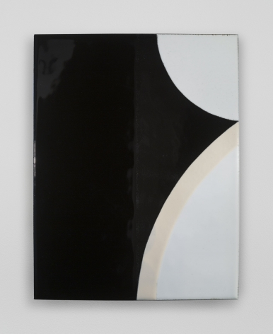 An enamel painting on black ground with white circular bumps jutting from the right.