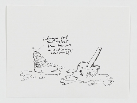 """A black and white drawing of a melted ice cream cone, with hand-written cursive text """"I always feel that i've just been born into an endlessly new world"""" coming off of it at right. To the left of this figure is a half-melted Spongebob Squarepants ice cream on a stick."""