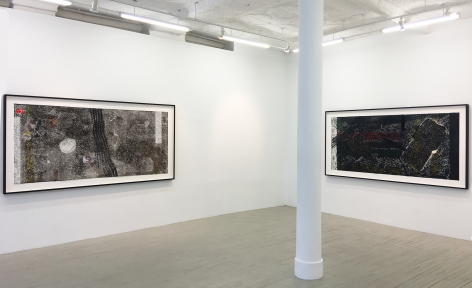 An installation view of 2 collographs by Kahlil Robert Irving