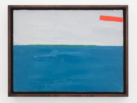 An abstract painting in tones of blue, green, red, and gray
