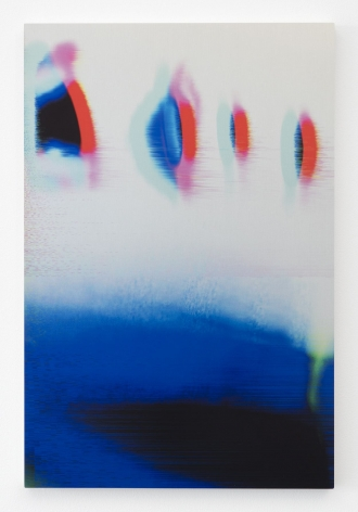 An abstract image of blue, red, black, and pink