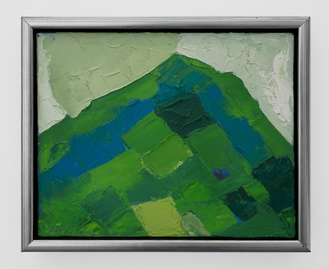 An abstract painted canvas of a mountain. There are squares and rectangles of different hues of blue, green, and white.