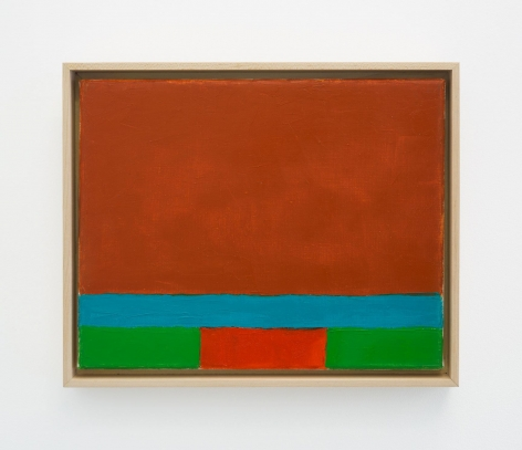 A abstract composition with two-thirds of the top portion of the canvas in burnt sienna; the bottom-third has a strip of sky blue, then a strip of kelly green along the bottom edge. In the center of the green strip is a red rectangle.