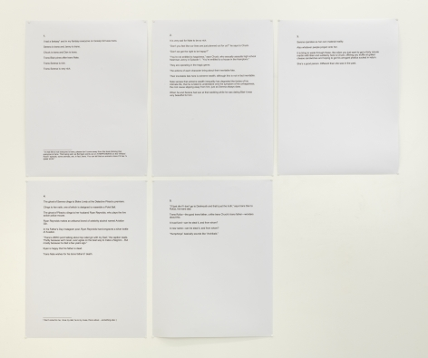 sheets of paper with printed texts that are excerpts from a fictional piece by the artist.