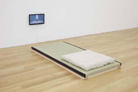 Light, 2019 installation tatami, meditation mat, small flat screen