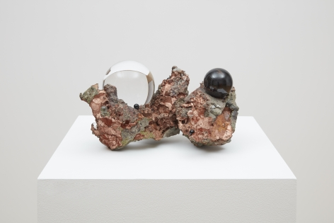 Nested, 2019 copper mineral, tourmaline and obsidian balls