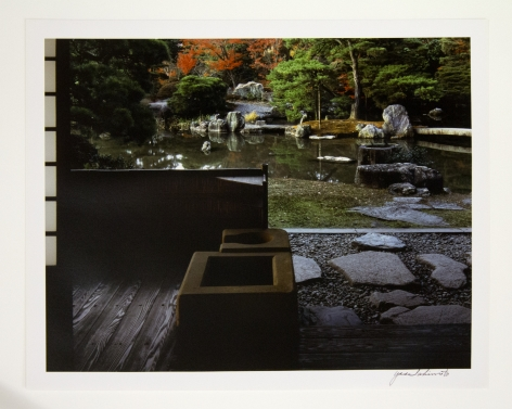 Garden view from the North Veranda of the Shokintei Pavilion. Earthen Hearths in the foreground, 1981-82