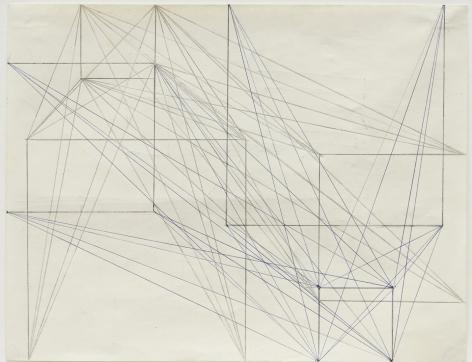 Helmut Federle Two Side Drawing (Abstände von Ecke zur Form gleichwertig, 1 + 1/2 + 2/3 + 3), 1979