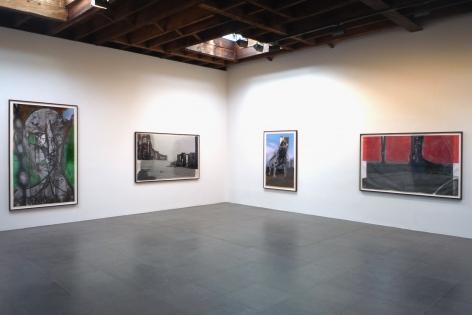 Installation view of Huma Bhabha, Paintings, 2010 at Peter Blum Chelsea.