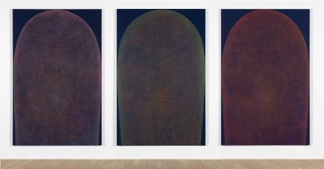 "Installation of ""LingamYoni (1)"", 2016, ""LingamYoni (2)"", 2017, ""LingamYoni (3)"", 2017.Colored pencil, acrylic on canvas, 74 x 48 inches (188 x 122 cm) each"