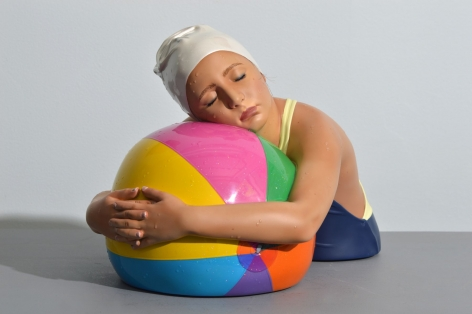 Carole Feuerman Miniature Brooke with Beach Ball, 2017-19