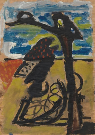 """""""Untitled"""", 1976 Ink, gouache, oil on brown paper"""