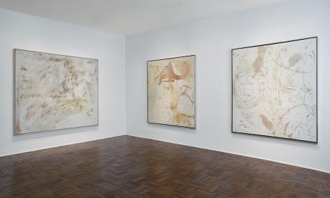 Sigmar Polke, Silver Paintings, New York, 2015, Installation Image 2