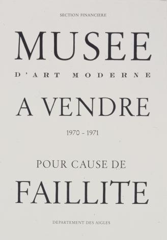 """Marcel Broodthaers """"Musée d'art moderne à vendre pour cause de faillite"""", 1971"""