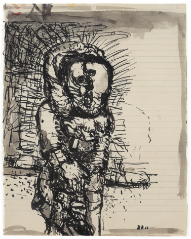 """Untitled"", 1962 India ink and wash on lined paper"
