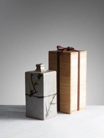 Shōji Hamada Ceramic, square bottle with fitted box, ca. 1965