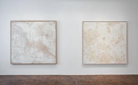 Sigmar Polke, Silver Paintings, New York, 2015, Installation Image 4