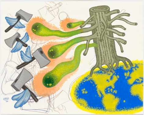"""""""Nature Fights Back"""", 2020, Acrylic, colored pencil on paper"""