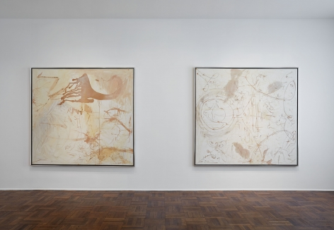Sigmar Polke, Silver Paintings, New York, 2015, Installation Image 3