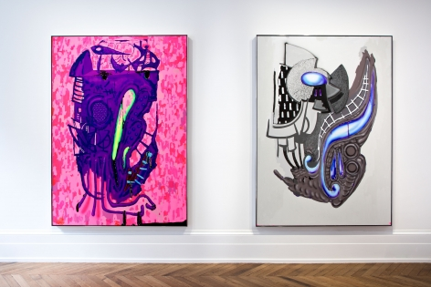 Aaron Curry, Paintings, London, 2014, Installation Image 1