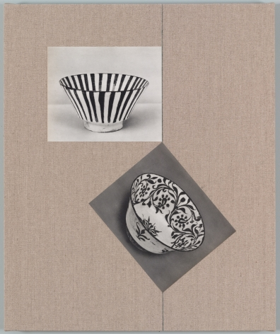 Kamrooz Aram, Untitled (from the series, Ancient Through Modern 28), 2017, Postcards and book cloth on linen mounted on panel