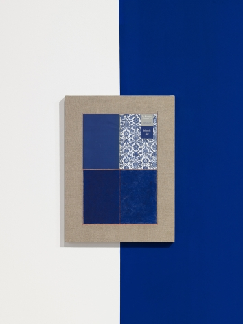 Kamrooz Aram, Ornamental Composition for Blue Galleries, 2019, Oil, pencil and collage on linen, 61 x 45.7 x 2.5 cm