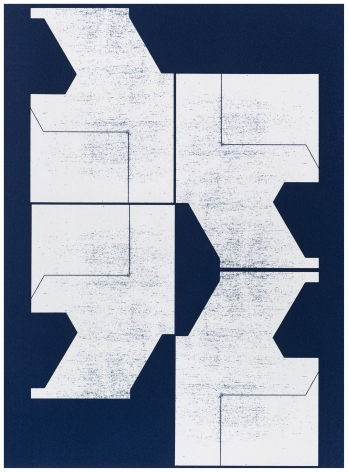 Seher Shah and Randhir Singh, Studies in Form, Hewn Blueprints (detail),2018, Cyanotype prints on Arches Aquarelle paper, 38 x 28 cm