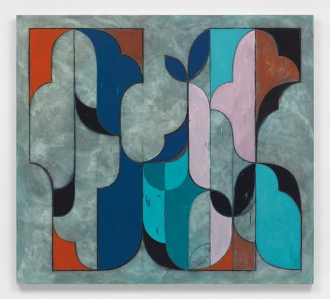 Kamrooz Aram, Untitled (Arabesque Composition), 2020, Oil and wax crayon on linen, 152.4 x167.64 cm