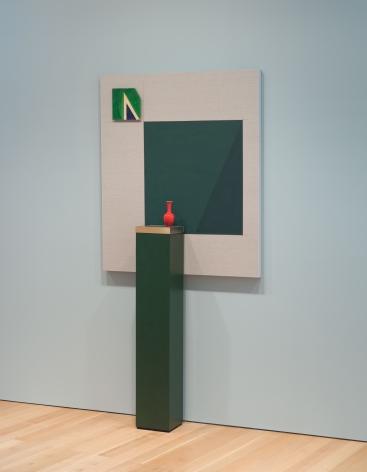 Kamrooz Aram, Green Movement, 2018, Panel: Oil and pencil on linen; Pedestal: wood, brass, terrazzo; Ceramic, 127x 106.75cm