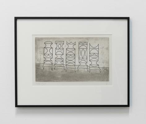Anwar Jalal Shemza, Five Chairs, 1962, Aquatint, 31 x 49.5 cm