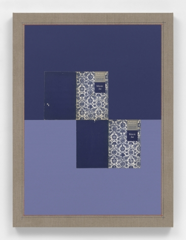 Kamrooz Aram, Untitled (Islamic Art), 2021, Paper, book covers and color pencil on linen, 101.6 x 76.2 cm
