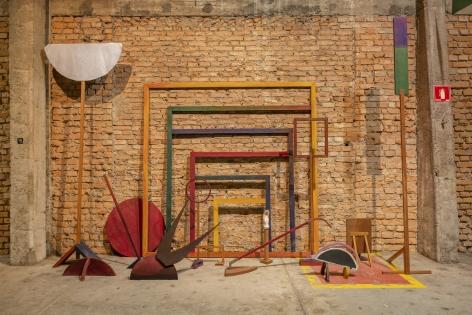 Ana Mazzei, Anjos II, 2019, Painted wood (garapeira, peroba mica, cumaru and plywood), fabric and aluminum