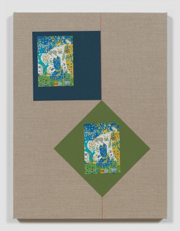 Kamrooz Aram, Ornamental Composition: Esfahan in the Fourth Dimension, 2018, Color pencil, book cloth and postcards on linen