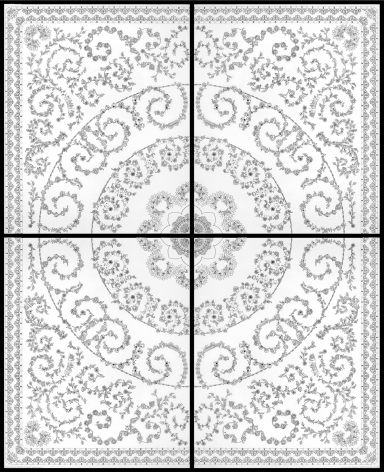 Nazgol Ansarinia, Untitled III, Patterns, 2009, Ink drawing & digital print on tracing paper, 88 x 109 cm (each panel)