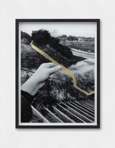 Hera Büyüktaşçıyan,Studies On Threads and Frequencies (detail),2019, Goldleaf on photographic paper