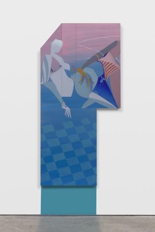 Maryam Hoseini,Two Visitors and Broken Window, 2020, Acrylic, ink and pencil on wood panel