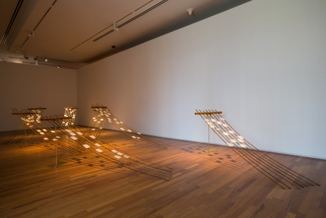 Hera Büyüktaşçıyan,Seldom Seen, Soon Forgotten, 2018-2019, Site-Specific installation, Capiz shells, wood and metal, Dimensions variable