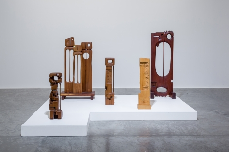 Chaouki Choukini, Poetry in Wood, 2016, Installation view at Green Art Gallery, Dubai, 2016